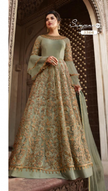 Flare Sleeve Mint Embellished Gown